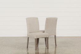 Garten Linen Chairs W/Greywash Finish Set Of 2