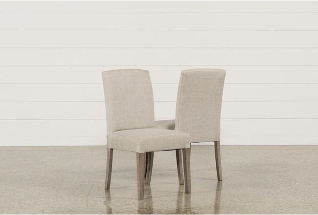 Garten Linen Dining Side Chairs W/Greywash Finish Set Of 2 - 360