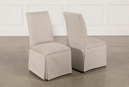 Garten Linen Skirted Side Chairs Set Of 2