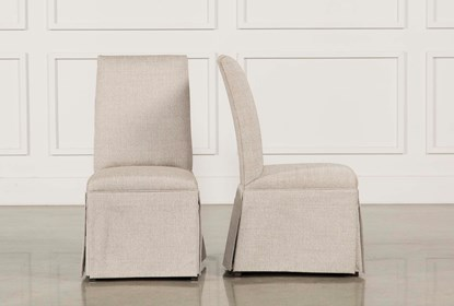 Garten Linen Skirted Dining Side Chairs, White Linen Dining Room Chairs