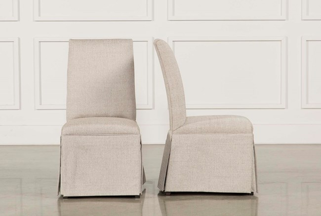 Garten Linen Skirted Dining Side Chairs Set Of 2 - 360