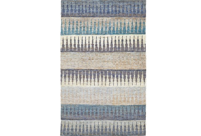 93X117 Rug -Turquoise Tribal Stripes - 360