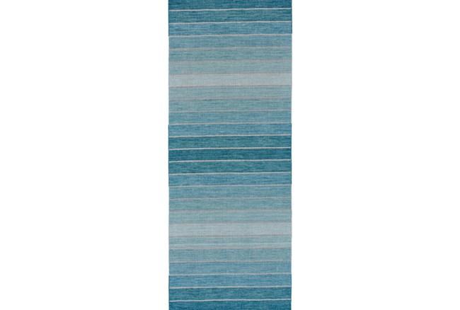 30X96 Rug-Aqua Ombre Stripes - 360