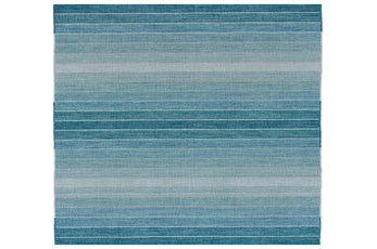 108X108 Square Rug-Aqua Ombre Stripes