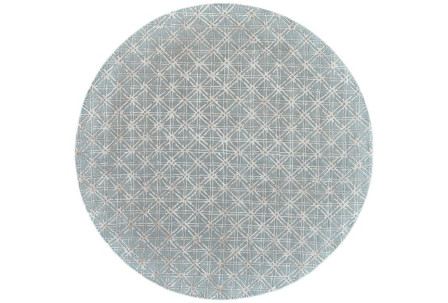 120 Round Rug-Blue Woven Cane - 360