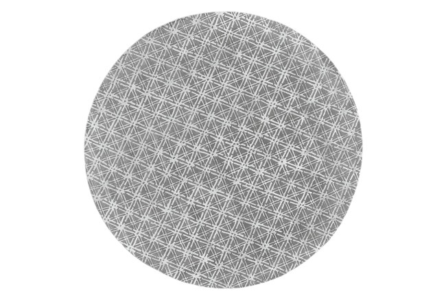 120 Round Rug-Grey Woven Cane - 360