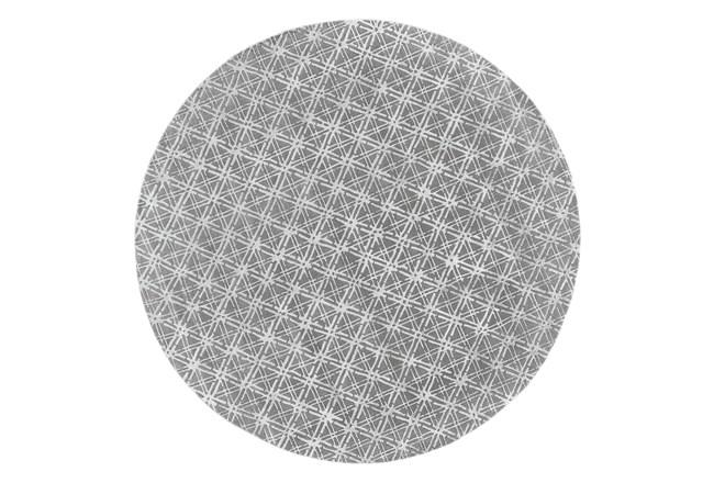 120 Round Rug-Grey Woven Cane - 360