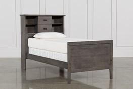 Owen Grey Twin Bookcase Bed With No Storage