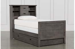 Owen Grey Twin Bookcase Bed With Trundle Storage