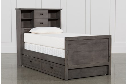 Owen Grey Twin Bookcase Bed W/Trundle Storage