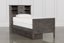 Owen Grey Twin Bookcase Bed W/Single 2-Drawer Storage Unit