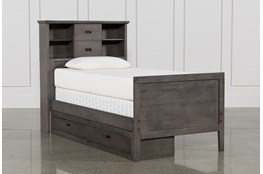 Owen Grey Twin Bookcase Bed W/Single 2-Drawer Storage Unit