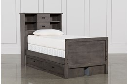 Owen Grey Twin Bookcase Bed W/Double 2-Drawer Storage Unit