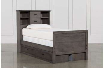 Owen Grey Twin Bookcase Bed With Double 2-Drawer Storage Unit
