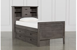 Owen Grey Twin Bookcase Bed With Single 4-Drawer Storage Unit