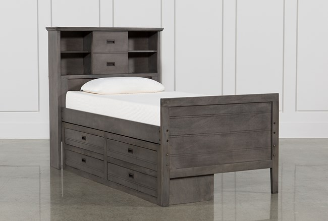 Owen Grey Twin Bookcase Bed With Single 4-Drawer Storage Unit - 360