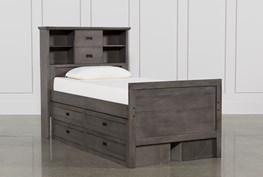 Owen Grey Twin Bookcase Bed With Double 4-Drawer Storage Unit
