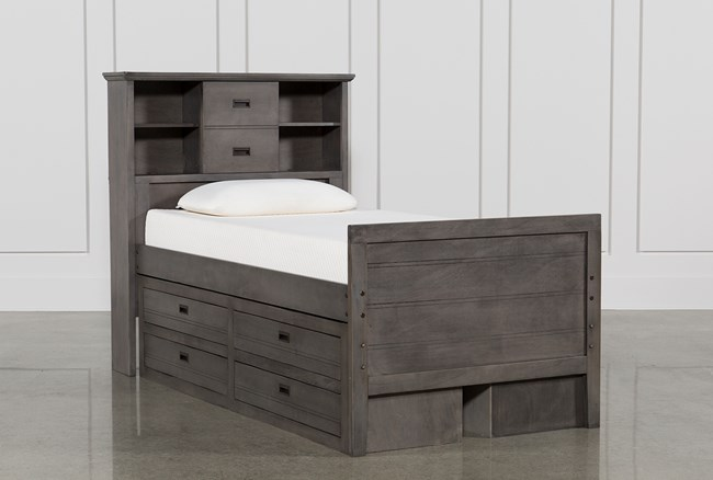 Owen Grey Twin Bookcase Bed W/Double 4-Drawer Storage Unit - 360