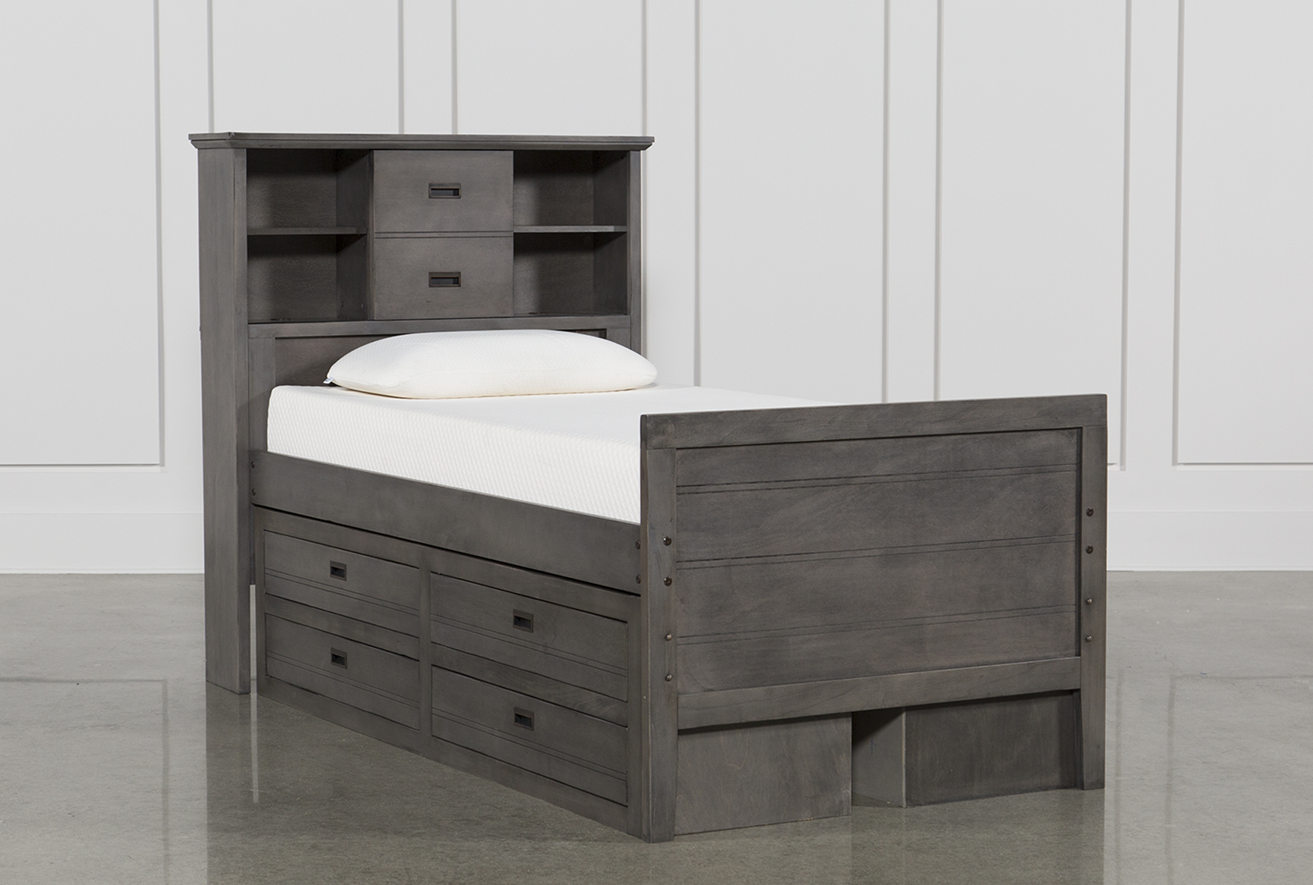 Genial Owen Grey Twin Bookcase Bed W/Double 4 Drawer Storage Unit (Qty: 1) Has  Been Successfully Added To Your Cart.