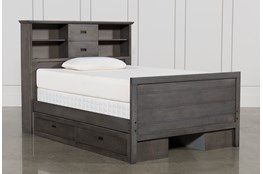 Owen Grey Full Bookcase Bed W/Double 2-Drawer Storage Unit