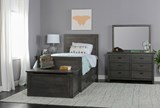 Owen Grey Twin Panel Bed W/Double 4-Drawer Storage Unit - Room