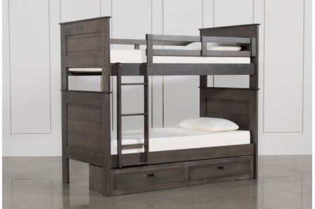 Owen Grey Twin Over Twin Bunk Bed With 2-Drawer Storage Unit