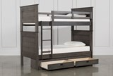 Owen Grey Twin Over Twin Bunk Bed With 2-Drawer Storage Unit - Left