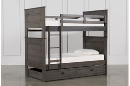Owen Grey Twin Over Twin Bunk Bed With Storage Trundle
