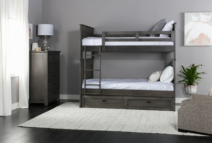 Owen Grey Twin Over Twin Bunk Bed With Storage Trundle Living Spaces