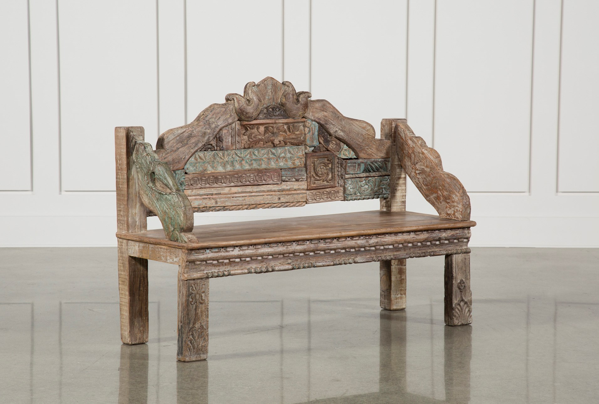 60 Inch Carved Wood Bench Living Spaces