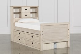 Owen Sand Twin Bookcase Bed W/Double 4-Drawer Storage Unit