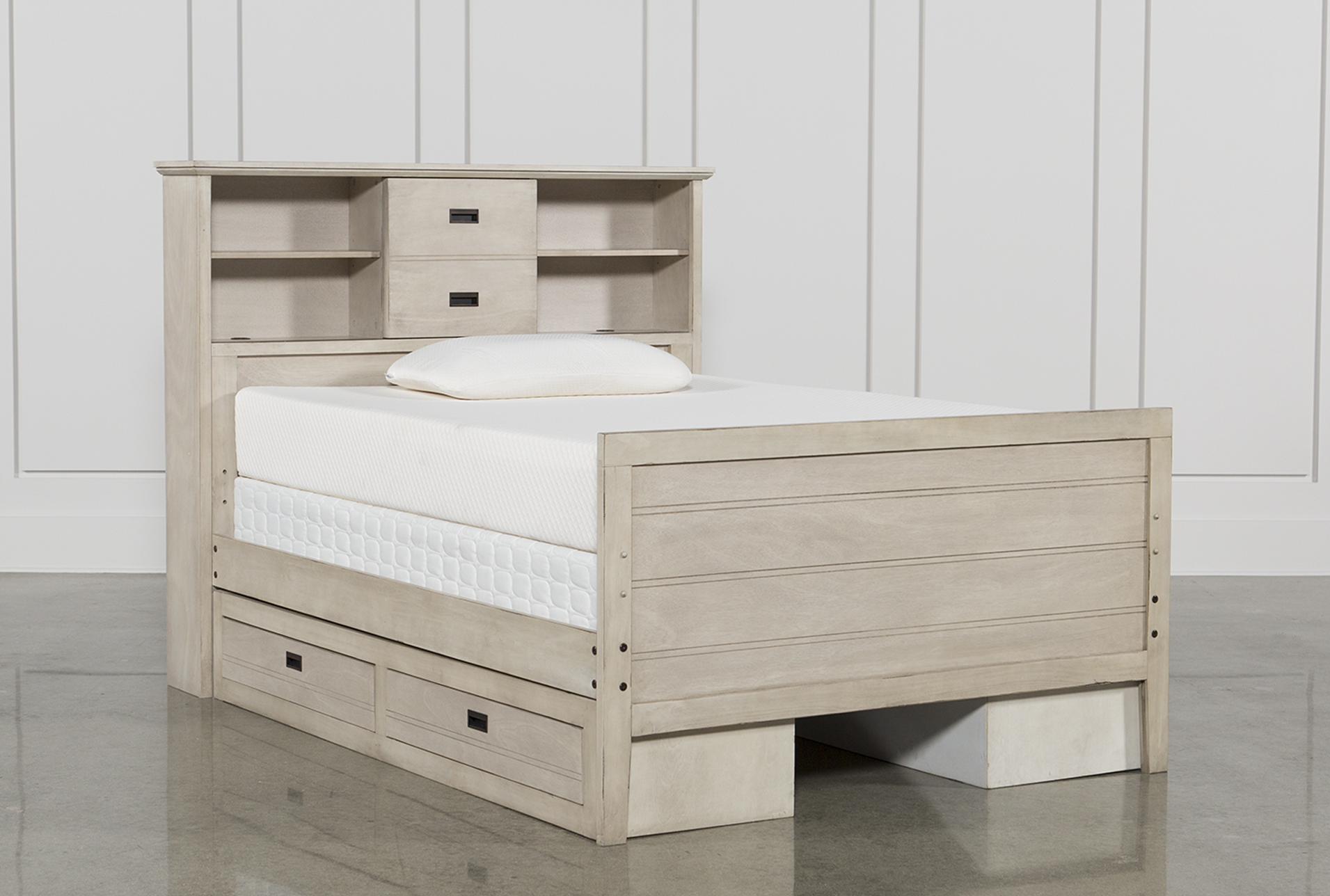 Owen Sand Full Bookcase Bed W Double 2 Drawer Storage Unit & Bed And Storage Unit - Listitdallas
