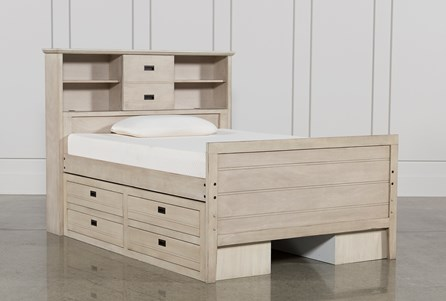 Owen Sand Full Bookcase Bed W/Double 4-Drawer Storage Unit