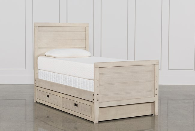 Owen Sand Twin Panel Bed W/Trundle Storage - 360