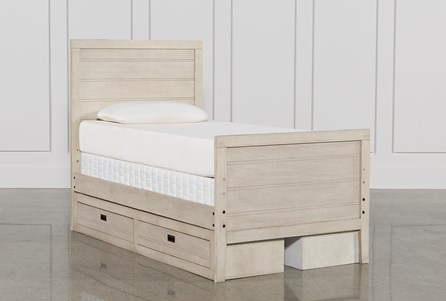 Owen Sand Twin Panel Bed W/Double 2-Drawer Storage Unit