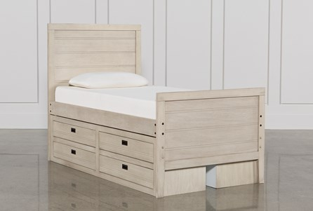 Owen Sand Twin Panel Bed W/Doube 4-Drawer Storage Unit