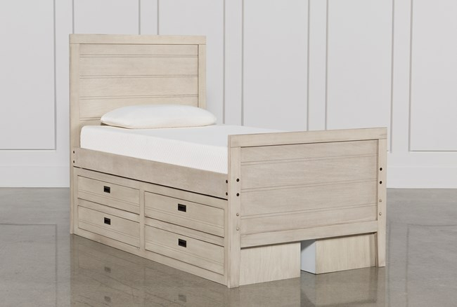 Owen Sand Twin Panel Bed W/Doube 4-Drawer Storage Unit - 360