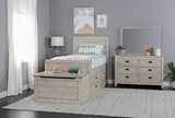 Owen Sand Twin Panel Bed W/Doube 4-Drawer Storage Unit - Room