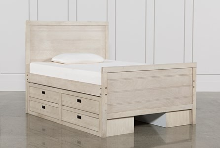 Owen Sand Full Panel Bed W/Doube 4-Drawer Storage Unit