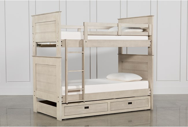 Owen Sand Twin Over Twin Bunk Bed With Storage Trundle Living Spaces