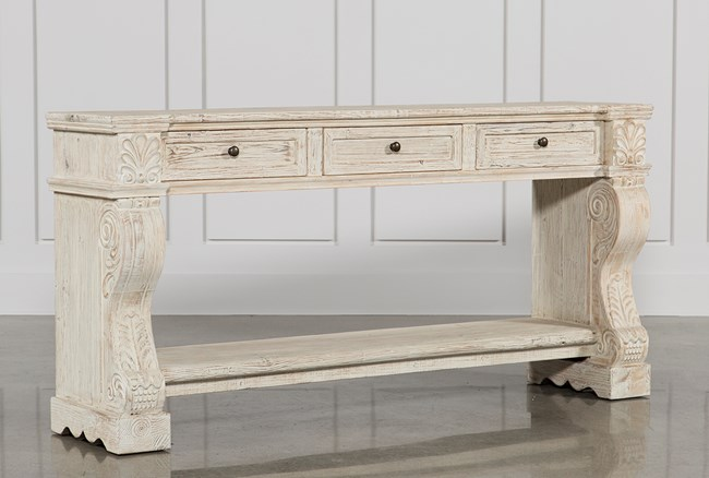 White Wash 3-Drawer Console Table - 360