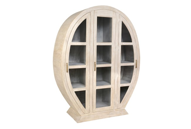 White Wash Oval Display Cabinet - 360