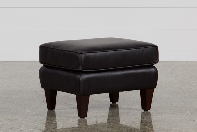 Madison Espresso Leather Ottoman - 360