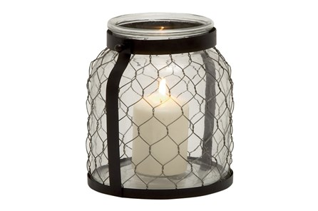 9 Inch Metal Glass Lantern - Main