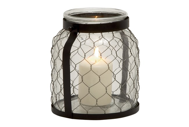 9 Inch Metal Glass Lantern - 360
