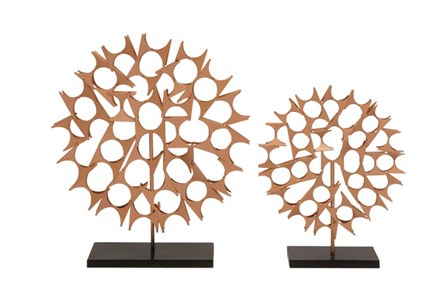 2 Piece Set Copper Table Sculptures