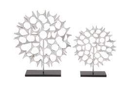 2 Piece Set Silver Sculptures
