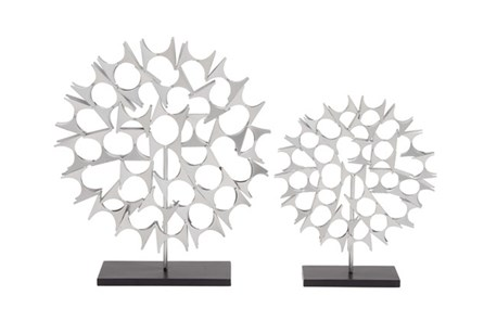 2 Piece Set Silver Sculptures - Main