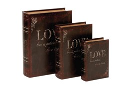 3 Piece Set Love Book Boxes