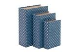 3 Piece Set Blue Geo Book Boxes - Signature